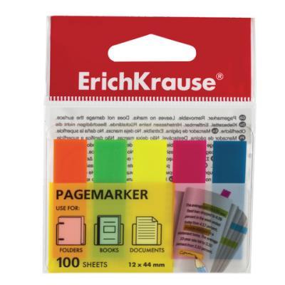 Закладки Erich Krause 100 листов 12х44 мм ассорти цены