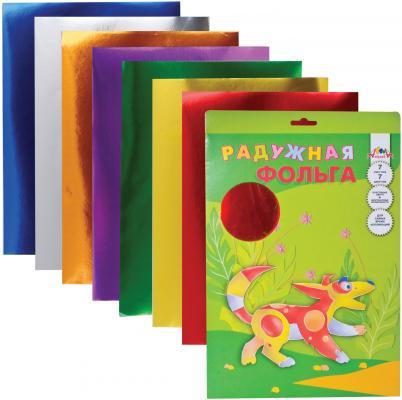 Цветная фольга АППЛИКА С0171 A4 7 листов апплика цветная бумага волшебная мозаика кружочки 18 листов 10 цветов