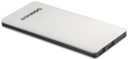 цена на Аккумулятор внешний SONNEN POWERBANK V3802, 6000 mAh, 2 USB, литий-полимерный, бело-черный, 262753