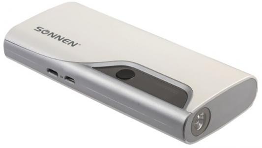Аккумулятор внешний SONNEN POWERBANK V15S, 10000 mAh, 2 USB, литий-ионный, LED-дисплей, фонарик, белый, 262756 18650 9800mah 3 7 v литий ионный аккумулятор для светодиодный фонарик факел