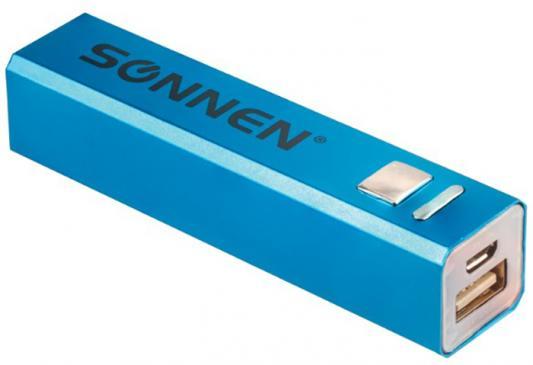 Аккумулятор внешний SONNEN POWERBANK V61С, 2600 mAh, литий-ионный, синий, алюминиевый, 262747 18650 9800mah 3 7 v литий ионный аккумулятор для светодиодный фонарик факел