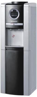 Кулер для воды SONNEN FCB-02, напольный, компрессорное охлаждение/нагрев, 2 крана, серебристый/черный, 453983