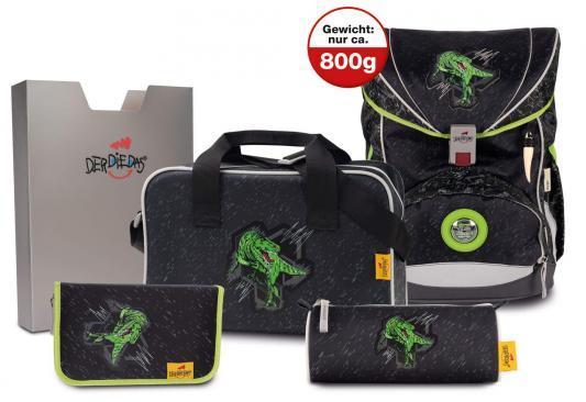 Купить Ранец ортопедический DERDIEDAS ErgoFlex Зеленый Динозавр с наполнением 20.5 л черный зеленый, черный, зеленый, полиэстер, Школьные ранцы