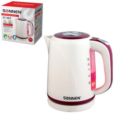 Чайник SONNEN KT-002, 1,7 л, 2200 Вт, закрытый нагревательный элемент, пластик, бежевый/красный, 451711 чайник sonnen kt 118b 452927