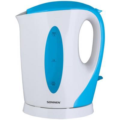 Чайник SONNEN KT-003BL, 1,7 л, 2200 Вт, открытый нагревательный элемент, пластик, белый/синий, 451818 чайник sonnen kt 1767 453416