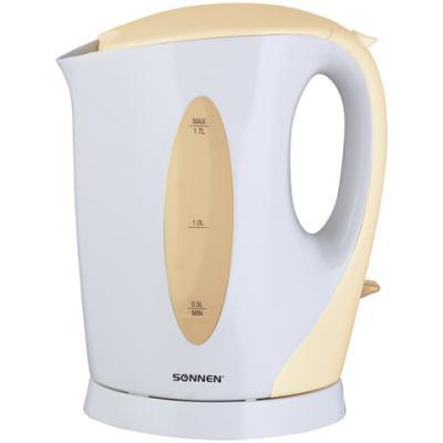 Чайник SONNEN KT-003BG, 1,7 л, 2200 Вт, открытый нагревательный элемент, пластик, белый/бежевый, 451819 чайник sonnen kt 118b 452927