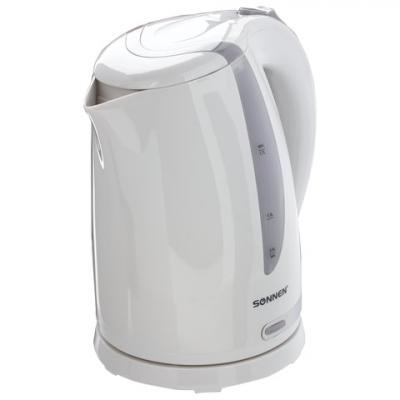 Чайник SONNEN KT-1743, 1,7 л, 2200 Вт, закрытый нагревательный элемент, пластик, белый, 453414 чайник sonnen kt 118b 452927