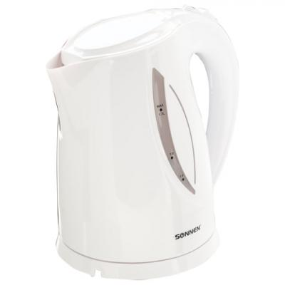 Чайник SONNEN KT-1758, 1,7 л, 2200 Вт, закрытый нагревательный элемент, пластик, белый, 453415 чайник sonnen kt 118b 452927