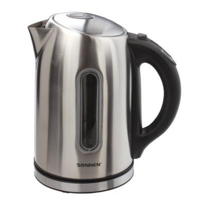 Чайник SONNEN KT-1740, 1,7 л, 2200 Вт, закрытый нагревательный элемент, терморегулятор, нержавеющая сталь, 453421 чайник sonnen kt 115