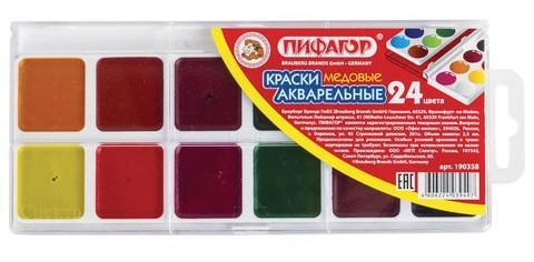 Краски акварельные ПИФАГОР Краски акварельные 24 цвета