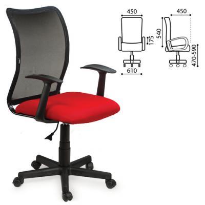 """Кресло BRABIX """"Spring MG-307"""", с подлокотниками, комбинированное красное/черное, TW, 531405 все цены"""
