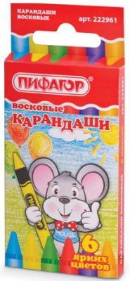 Восковые карандаши ПИФАГОР, 6 цветов, 222961 пифагор восковые мелки 18 цветов
