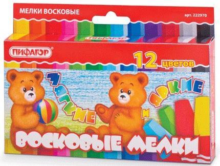 Восковые мелки утолщенные ПИФАГОР, 12 цветов, на масляной основе, яркие цвета, 222970 пифагор восковые карандаши 24 цвета
