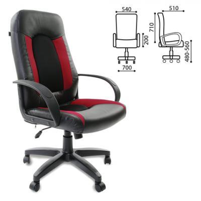 Кресло офисное BRABIX Strike EX-525, экокожа черная, ткань черная/бордовая, TW, 531379 кресло офисное brabix genesis ex 517 пластик белый ткань экокожа сетка черная 531573