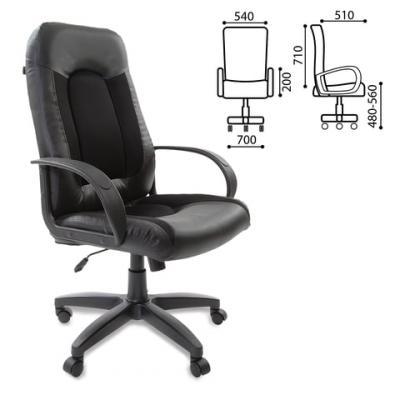 Кресло офисное BRABIX Strike EX-525, экокожа черная, ткань черная, TW, 531381 кресло офисное brabix genesis ex 517 пластик белый ткань экокожа сетка черная 531573