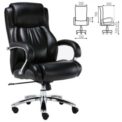Фото - Кресло офисное BRABIX Status HD-003, нагрузка до 250 кг, рециклированная кожа, хром, черное кресло офисное brabix status hd 003 рециклированная кожа хром черное 531821