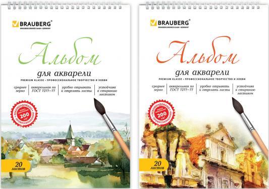 Купить Альбом для акварели BRAUBERG 126308 A4 20 листов, Альбом для рисования