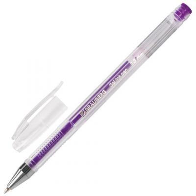 Ручка гелевая BRAUBERG Jet, корпус прозрачный, узел 0,5 мм, линия 0,35 мм, фиолетовая, 142161 ручка гелевая brauberg jet золотой
