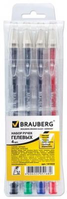 Ручки гелевые BRAUBERG, набор 4 шт., Jet, узел 0,5 мм, линия 0,35 мм, подвес, (синяя, черная, красная, зеленая), 141023 ручки шариковые набор 3шт centrum центрум pioneer черная красная синяя