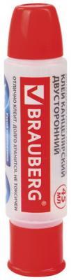 Клей канцелярский двусторонний BRAUBERG, 45 мл, с узким и широким аппликаторами клей роллер канцелярский brauberg 45 гр