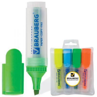 Набор текстмаркеров BRAUBERG FLUO 1-5 мм 4 шт желтый голубой зеленый оранжевый набор лаков lucky 3 шт голубой желтый зеленый