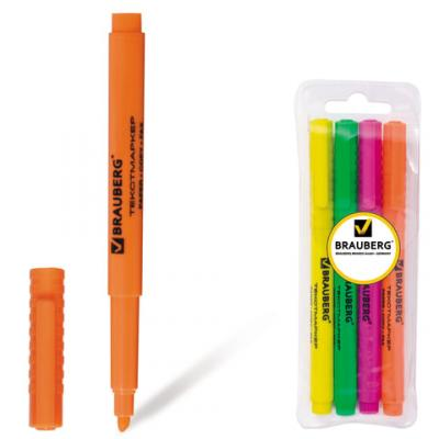 Набор текстмаркеров BRAUBERG FLUOline 1-3 мм 4 шт зеленый желтый розовый оранжевый набор банок для пищевых продуктов цвет зеленый оранжевый бордовый 3 шт