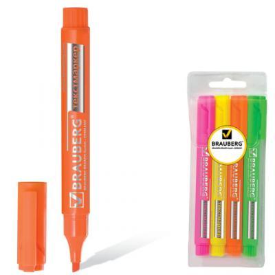 """Набор текстмаркеров BRAUBERG """"Energy"""" 1-3 мм 4 шт желтый зеленый розовый оранжевый"""