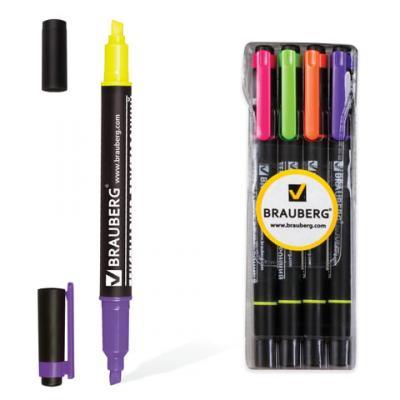 Набор текстмаркеров BRAUBERG 1-4 мм 4 шт желтый зеленый оранжевый розовый фиолетовый цена