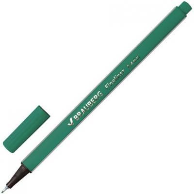"""Ручка капиллярная BRAUBERG """"Aero"""", трехгранная, металлический наконечник, 0,4 мм, темно-зеленая, 142251"""