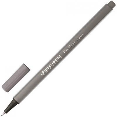 """Ручка капиллярная BRAUBERG """"Aero"""", трехгранная, металлический наконечник, 0,4 мм, серая, 142258"""