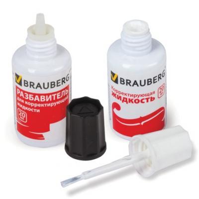 Картинка для корректирующая жидкость + разбавитель, BRAUBERG Корректирующий набор 20 мл