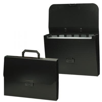 Портфель пластиковый BRAUBERG Energy, А4, 256х330 мм, 6 отделений, черный, 221204