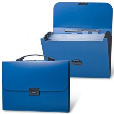 Портфель пластиковый BRAUBERG Energy, А4, 256х330 мм, 6 отделений, синий, 222572