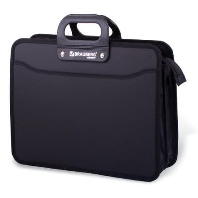 Портфель пластиковый BRAUBERG, премьер, А4, 390х315х120 мм, 3 отделения, на молнии, черный, 223082 папка brauberg a4 390x315x120mm black 223082