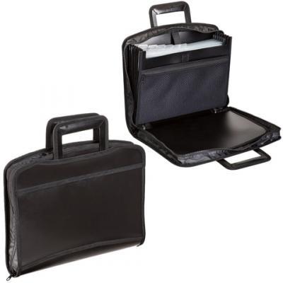 Портфель-папка пластиковый BRAUBERG А4+, 355х290х60 мм, на молнии, выдвижные ручки, 8 отделений, 2 кармана, черный, 225168 цена и фото