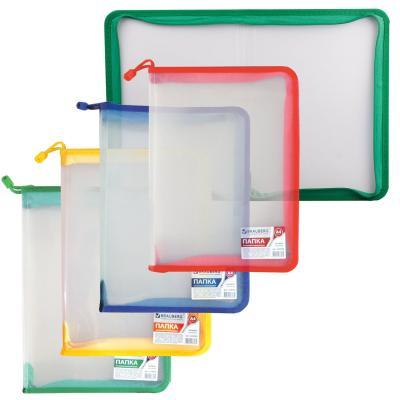 brauberg папка сумка на молнии а5 девочка футбол бабочка ассорти Папка на молнии пластиковая BRAUBERG Диагональ, А4, 325х230 мм, прозрачная, молния ассорти, 224052