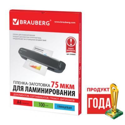 Фото - Пленки-заготовки для ламинирования BRAUBERG, комплект 100 шт., для формата А4, 75 мкм, 530800 пакетная пленка для ламинирования brauberg пленки заготовки 100 шт а4 150 мкм 531776 100 шт