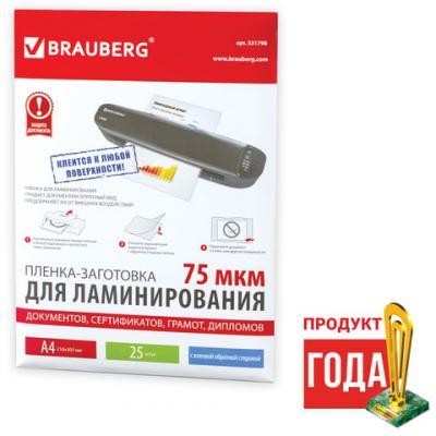 Фото - Пленки-заготовки для ламинирования BRAUBERG, комплект 25 шт., на клеевой основе для формата A4, 75 мкм, 531798 разделитель индексный durable 6630 19 a4 пластик 5 индексов с карманами цветные разделы