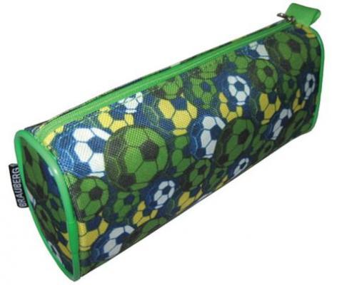 Купить Пенал-косметичка BRAUBERG для учеников начальной школы, зеленый, футбольные мячи, 21х6х8 см, 223907, Пеналы и папки