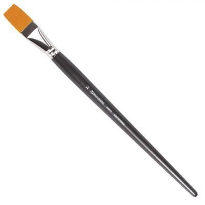 Кисть художественная профессиональная BRAUBERG ART CLASSIC, синтетика жесткая, плоская, № 24, длинная ручка roubloff кисть 1222 синтетика плоская 36 длинная ручка