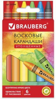 """Восковые карандаши утолщенные BRAUBERG """"АКАДЕМИЯ"""", НАБОР 6 цв.,227286 карандаши fila восковые карандаши 12 цв"""
