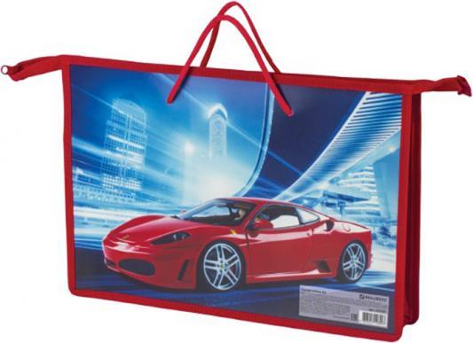"""Папка на молнии с ручками BRAUBERG, А4, пластик, для мальчиков, """",Красный авто"""",, 225501"""