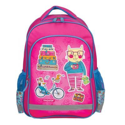 Купить Школьный рюкзак ручка для переноски ПИФАГОР Кот-турист 15 л розовый, полиэстер, Ранцы, рюкзаки и сумки