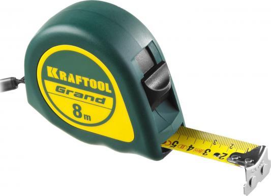 KRAFTOOL GRAND 8м / 25мм рулетка с ударостойким корпусом (ABS) и противоскользящим покрытием рулетка kraftool kraft max 8м 27мм 34127 08 27