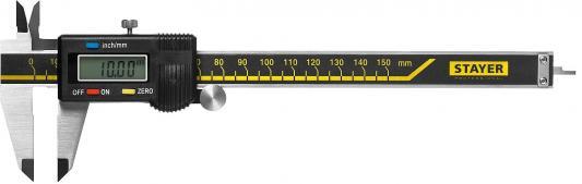STAYER PROFESSIONAL штангенциркуль электронный, направляющая из закаленной нержавеющей стали, шаг измерения 0,01мм, пластик корпус, 150мм