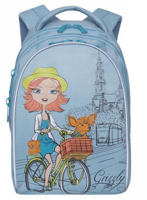 Купить Рюкзак светоотражающие материалы GRIZZLY Рюкзак школьный 12 л голубой, нейлон, Ранцы, рюкзаки и сумки