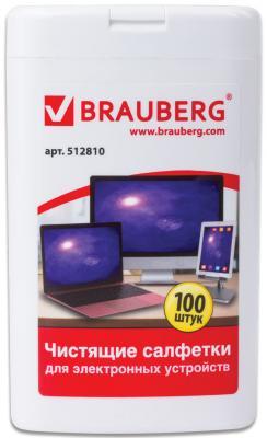 Чистящие салфетки для ноутбуков и оптических поверхностей BRAUBERG, компактная туба 100 шт., влажные, 512810 влажные салфетки fellowes fs 99703 100 шт