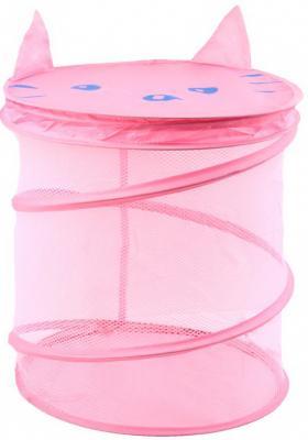 """Корзина для игрушек """"Котик"""", 38*45 см, Best toys, розовый, текстиль, пластик, Ящики и корзины для игрушек  - купить со скидкой"""