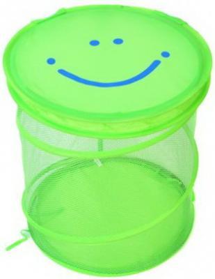 Купить Корзина для игрушек Улыбка , 38*45 см, Best toys, зеленый, текстиль, пластик, Ящики и корзины для игрушек