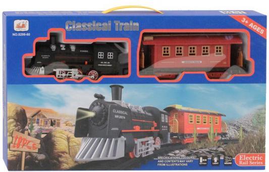 Железная дорога-классика на бат., 18 деталей, электровоз/1 вагон, свет, звук, в/к 46*6*26 см
